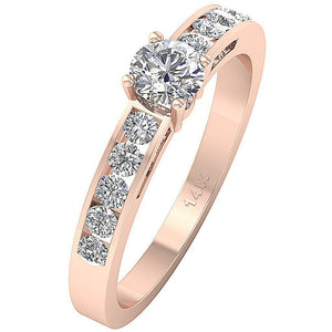 Natural Round Cut Diamond Ring 14K Rose Gold-DSR62