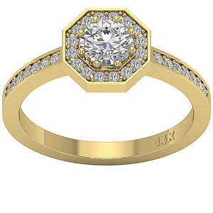 Natural Round Cut Diamond Ring Top View-DSR232