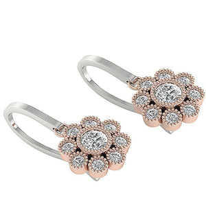 Width 7.90MM White+Rose Gold Earrings-DE108