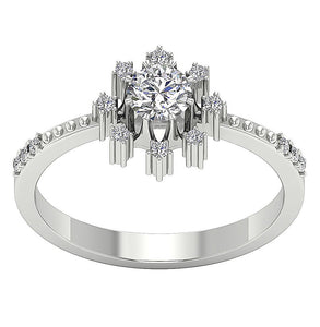 Natural Round Diamond Ring White Gold-DSR646
