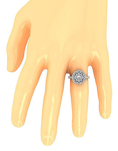 Halo Solitaire Genuine Diamond Ring On Hand-SR-927-15