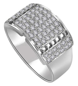 SI1/I1 G 0.70Ct 14k Solid Gold Natural Diamonds Mens Engagement Ring Pave Set Width 12.45MM
