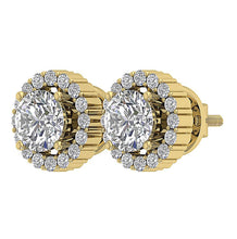 Load image into Gallery viewer, 14k Yellow Gold Prong Designer Earring Set