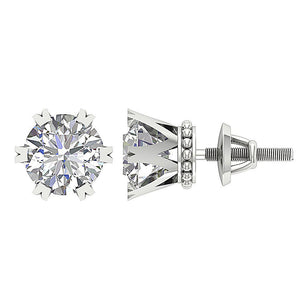 Earring Set 14k White Gold Prong Setting