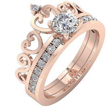 Load image into Gallery viewer, 14k Rose Gold Prong Setting In Bridal Ring Set