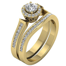 Load image into Gallery viewer, 14k Solid Gold Prong Setting In Bridal Ring Set