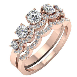 14k Solid Gold Prong Setting In Bridal Ring Set