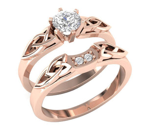 14k Rose Gold Natural Diamonds Bridal Wedding Ring Set