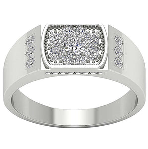 SI1/I1 G 0.90Ct 14k Solid Gold Mens Anniversary Ring Natural Diamond Prong Channel Set Width 8.60MM