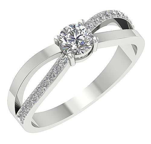 Prong Set 14K White Gold Solitaire Ring Side View-Accent Solitaire Ring On Hand-DSR62