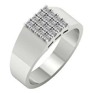 Mens Wedding Ring 14k Solid Gold SI1/I1 G 0.60Ct Natural Diamond Prong Set Width 9.00MM