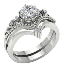 Load image into Gallery viewer, Designer Milgrain Bridal Ring Set Natural Round Diamond I1 G 1.15 Ct