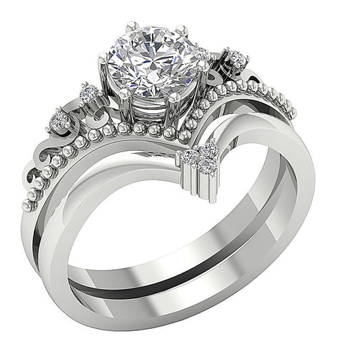 14k White Gold Prong Set Diamond Ring Factory Direct Price-DCR149