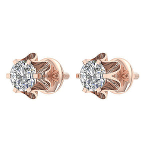 I1 G 0.55Ct Designer Solitaire Studs Earrings 14k/18k Solid Gold Natural Diamond