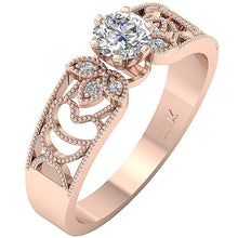 Load image into Gallery viewer, Prong Setting Solitaire Engagement Ring 14K Rose Gold