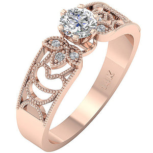 Prong Setting Solitaire Engagement Ring 14K Rose Gold