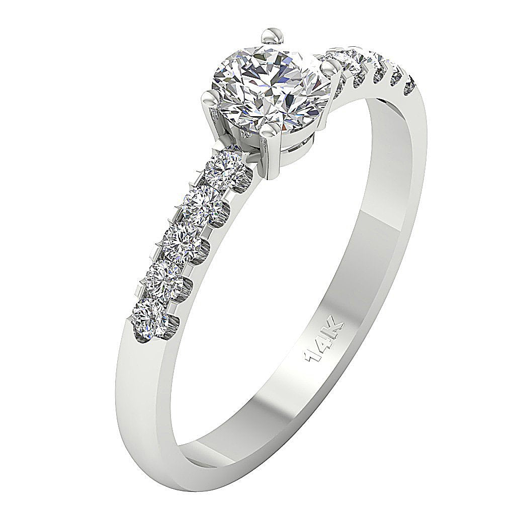 Accent With Solitaire Engagement Round Diamond Ring SI1 G 0.80 Ct 14k Solid Gold