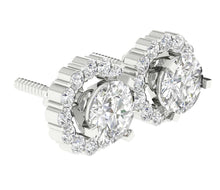 Load image into Gallery viewer, Side View White Gold Studs Earring-E-708-3