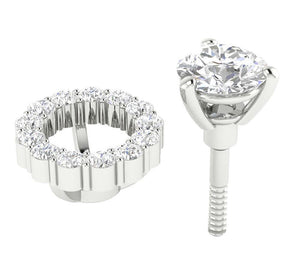White Gold Removable Jacket Studs Earring-E-708-9