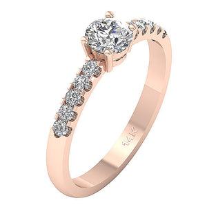 Rose Gold 14K Engagement Ring Solitaire Prong Setting-DSR131
