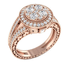 Load image into Gallery viewer, Rose Gold 14K Natural Round Diamond Ring Solitaire Ring-SR-1089
