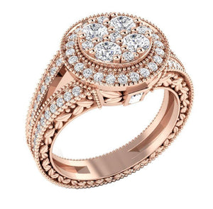 Rose Gold 14K Natural Round Diamond Ring Solitaire Ring-SR-1089