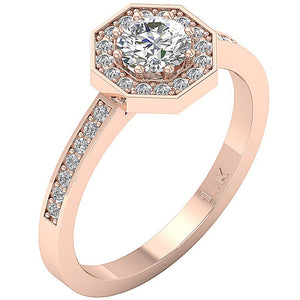 Rose Gold Halo Solitaire 14K Engagement Ring-DSR232