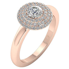 Load image into Gallery viewer, Rose Gold Natural Diamond Ring Side View-DSR221
