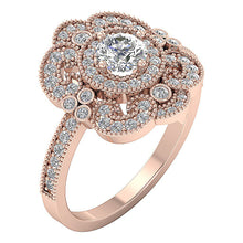 Load image into Gallery viewer, Halo Solitaire Ring Side View 14K Rose Gold Prong Set-SR-1151-3