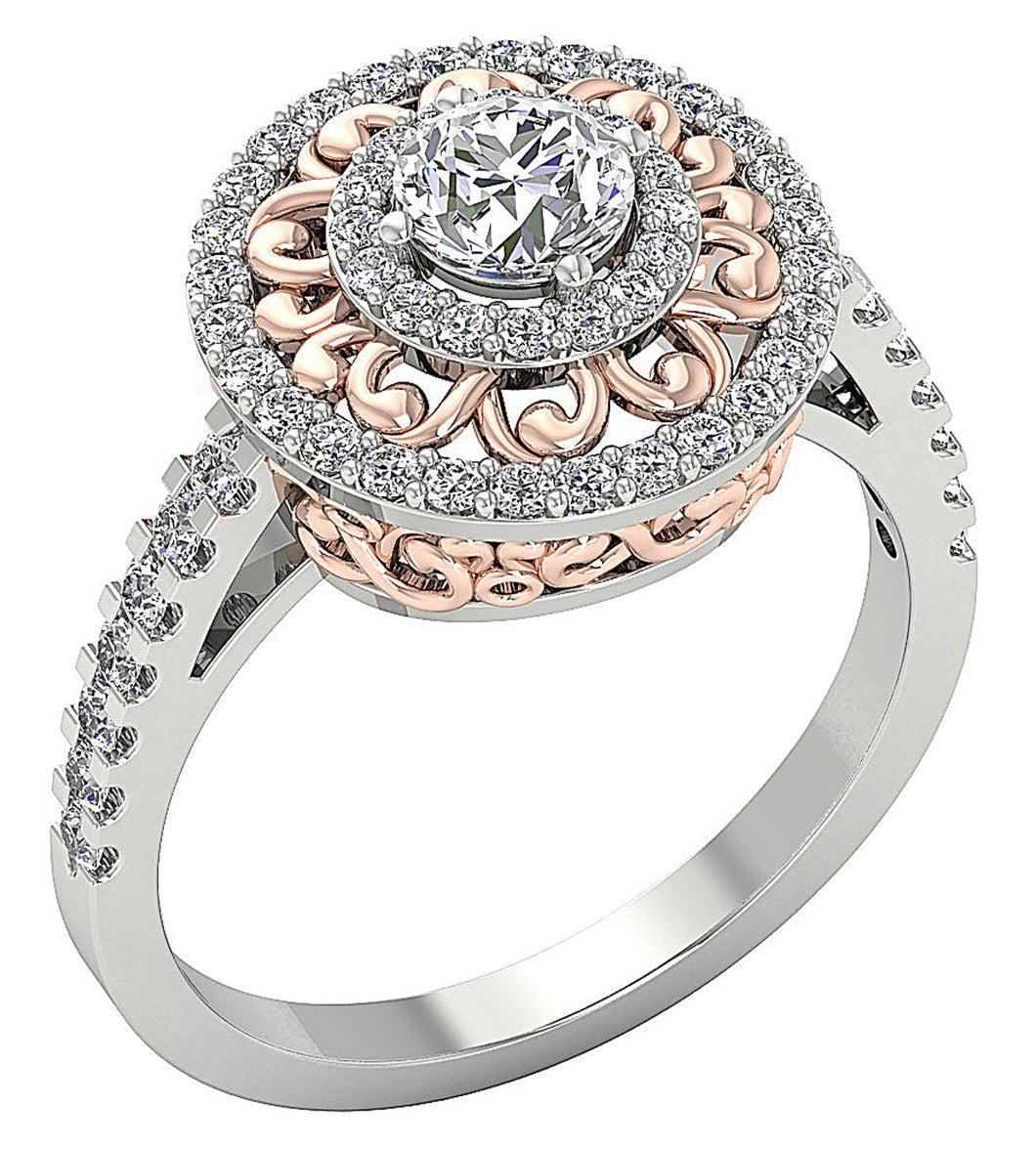 Designer Solitaire Engagement Ring 14K Gold-SR-927-5