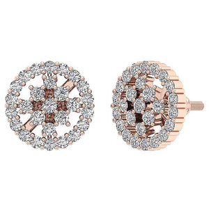 14k Rose Gold Natural Diamond Earring Set