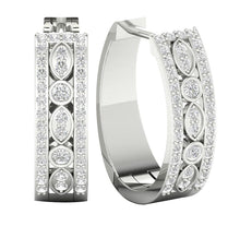 Load image into Gallery viewer, Genuine Diamond 14k White Gold Earring Set