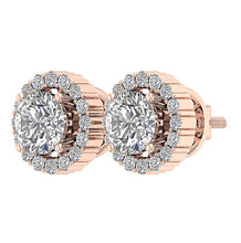 Load image into Gallery viewer, 14k Rose Gold Natural Diamond Antique Earring Set