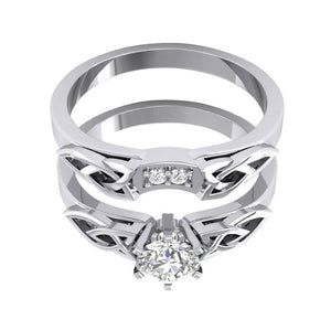 14k White Gold Natural Diamond Bridal Ring Set