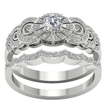 Load image into Gallery viewer, 14k White Gold Designer Bridal Ring Set