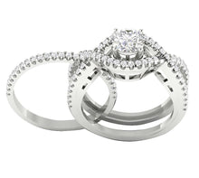 Load image into Gallery viewer, 14k White Gold Natural Diamond Bridal Ring Set