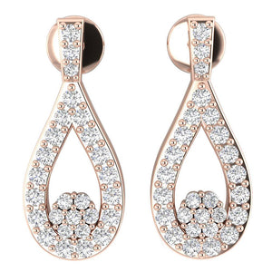 Genuine Diamond Chandelier Earring Set 14k Gold