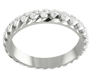 14k Gold Genuine Diamond Eternity Ring Set