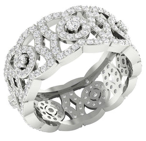 14k White Gold Genuine Diamond Eternity Ring Set