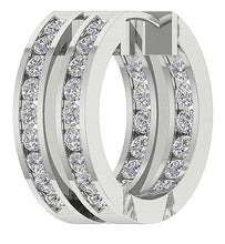 Load image into Gallery viewer, 14k Gold Natural Diamond Inside Outside Hoop Earring