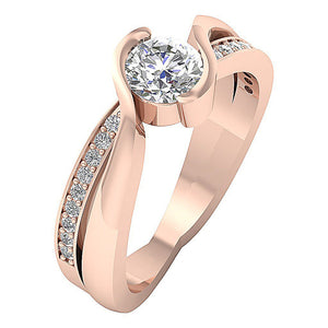 Side View Genuine Diamond Ring Solitaire Engagement Ring-DSR608-2