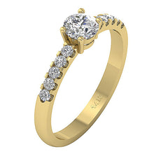 Load image into Gallery viewer, Round Cut Diamond Ring 14K Prong setting Yellow Gold-DSR131