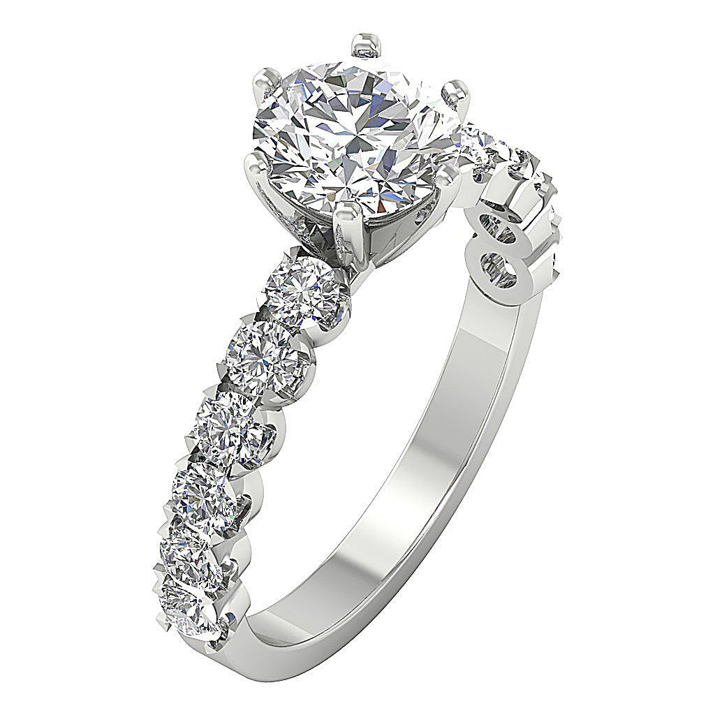 Accent Solitaire Wedding Natural Diamond Ring I1 G 2.50 Ct 14k White Yellow Rose Gold
