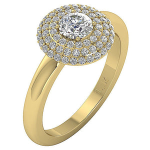Round Cut Diamond Ring Side View 14K Yellow Gold-DSR221