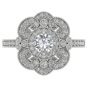 Halo Solitaire Ring Round Cut Diamond Top View-SR-1151-5
