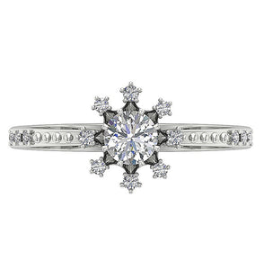 Round Cut Diamond Solitaire Ring White Gold Top View-DSR646