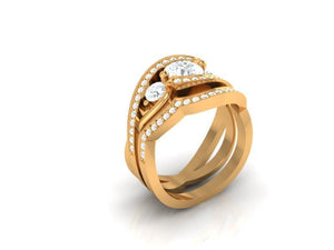 Round Cut Diamond Prong Set Wedding Ring 14k Yellow Gold-CR-172