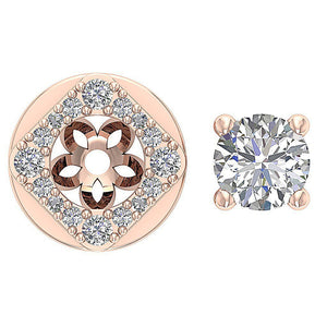 Removeble Jacket Round Cut Diamonds Earrings-DE170