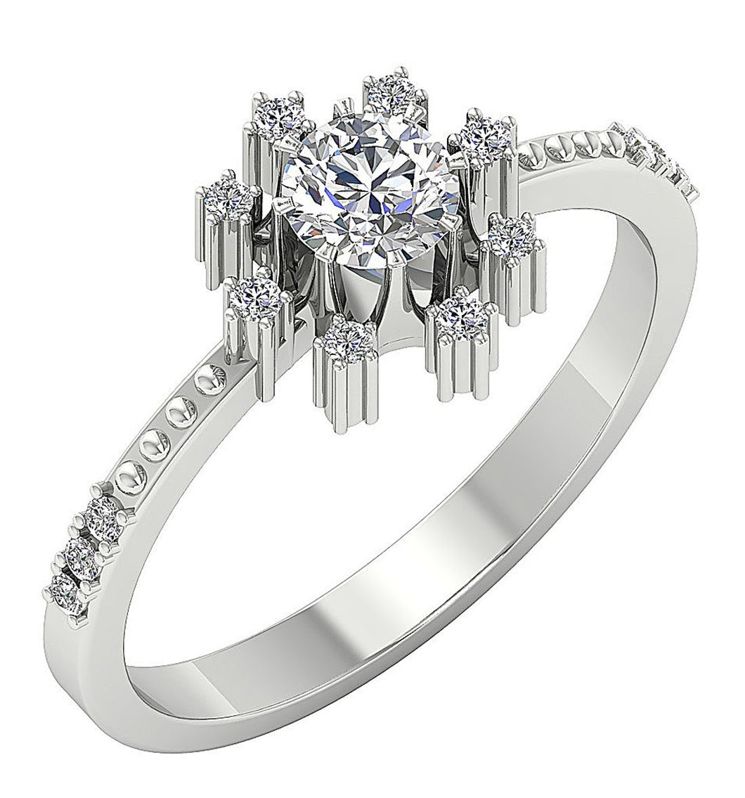 Round Diamond Ring White Gold Ring-DSR646
