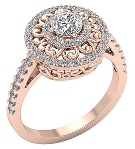 Round Diamond Prong Set Solitaire Ring Rose Gold-SR-927-3